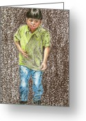 Little Boy Pastels Greeting Cards - Sad Child Greeting Card by Jim Barber Hove