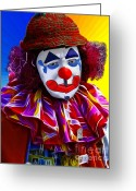 2hivelys Art Greeting Cards - Sad Clown Greeting Card by Methune Hively