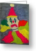Early Pastels Greeting Cards - Sad Clown Greeting Card by Robyn Louisell