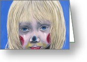 Little Girl Greeting Cards - Sad Little Girl Clown Greeting Card by Patty Vicknair