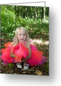 Princess Grace Greeting Cards - Sad little girl in fairy costume in a forest Greeting Card by Gordana Sermek