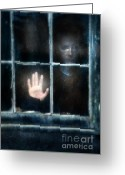 Pensive Greeting Cards - Sad Person Looking out Window Greeting Card by Jill Battaglia