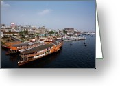 Nautical Vessel Greeting Cards - Sadarghat River Greeting Card by Partha S. Mandal