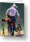 Bronc Greeting Cards - Saddle Bronc Rider Greeting Card by Randy Follis