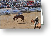 Infield Greeting Cards - Saddle bronc riding event at the Calgary Stampede Greeting Card by Louise Heusinkveld
