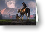 American Cowboy Digital Art Greeting Cards - Saddle Tale Greeting Card by Dieter Carlton