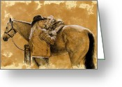 Coffee Drawings Greeting Cards - Saddled up Greeting Card by Debra Jones