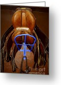 Hang Greeting Cards - Saddles Greeting Card by Elena Elisseeva