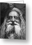 People Portraits Greeting Cards - Sadhu  Greeting Card by Enzie Shahmiri