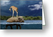 Surrealist Digital Art Greeting Cards - Safe Greeting Card by Martine Roch