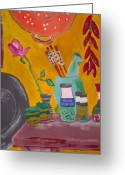 Spice Painting Greeting Cards - Saffron And Chillies Greeting Card by Julie Butterworth