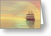 Sailboat Picture Greeting Cards - Saffron Skies Greeting Card by Corey Ford