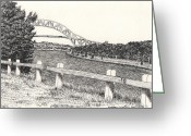 Canal Drawings Greeting Cards - Sagamore Bridge Cape Cod Canal Greeting Card by Kathleen Walker