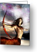 Archer Greeting Cards - Sagittarius Greeting Card by Julie L Hoddinott