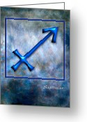 Dog Art Pyrography Greeting Cards - Sagittarius  Greeting Card by Mauro Celotti