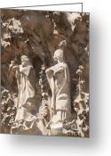 Art Of Building Greeting Cards - Sagrada Familia Nativity Facade Detail Greeting Card by Matthias Hauser