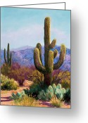 Plants Pastels Greeting Cards - Saguaro Greeting Card by Candy Mayer