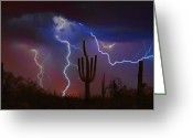 Desert Southwest Greeting Cards - Saguaro Lightning Nature Fine Art Photograph Greeting Card by James Bo Insogna
