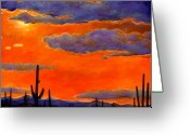 Oranges Greeting Cards - Saguaro Sunset Greeting Card by Johnathan Harris