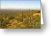 Tucson Arizona Digital Art Greeting Cards - Saguaros Over Tucson Greeting Card by Steve Bailey