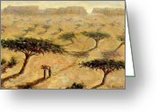 Tree. Acacia Greeting Cards - Sahelian Landscape Greeting Card by Tilly Willis