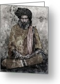 Nirvana Mixed Media Greeting Cards - Sahib Greeting Card by Ioannis Lelakis