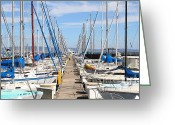Baseball Park Greeting Cards - Sail Boats at San Francisco China Basin Pier 42 . 7D7692 Greeting Card by Wingsdomain Art and Photography