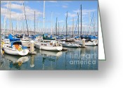 Big Cities Greeting Cards - Sail Boats at San Francisco China Basin Pier 42 With The Bay Bridge in The Background . 7D7664 Greeting Card by Wingsdomain Art and Photography