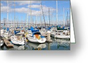 Baseball Park Greeting Cards - Sail Boats at San Francisco China Basin Pier 42 With The Bay Bridge in The Background . 7D7666 Greeting Card by Wingsdomain Art and Photography