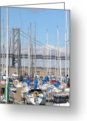 Att Baseball Park Greeting Cards - Sail Boats at San Francisco China Basin Pier 42 With The Bay Bridge in The Background . 7D7683 Greeting Card by Wingsdomain Art and Photography