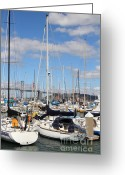 Att Baseball Park Greeting Cards - Sail Boats at San Francisco China Basin Pier 42 With The Bay Bridge in The Background . 7D7685 Greeting Card by Wingsdomain Art and Photography