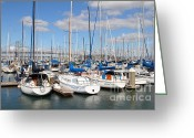 Att Baseball Park Greeting Cards - Sail Boats at San Francisco China Basin Pier 42 With The Bay Bridge in The Background . 7D7688 Greeting Card by Wingsdomain Art and Photography