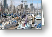 Baseball Park Greeting Cards - Sail Boats at San Francisco China Basin Pier 42 With The San Francisco Skyline . 7D7675 Greeting Card by Wingsdomain Art and Photography