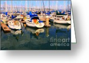 Oakland Bay Bridge Greeting Cards - Sail Boats At San Franciscos Pier 42 . Dark Version Greeting Card by Wingsdomain Art and Photography