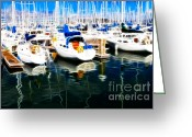 Oakland Bay Bridge Greeting Cards - Sail Boats At San Franciscos Pier 42 . Electrified Greeting Card by Wingsdomain Art and Photography