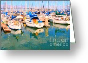 Oakland Bay Bridge Greeting Cards - Sail Boats At San Franciscos Pier 42 Greeting Card by Wingsdomain Art and Photography