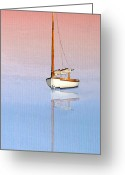 Sailing Cat Greeting Cards - Sail To Serenity Greeting Card by Michael Petrizzo