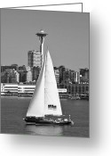 Seattle Skyline Greeting Cards - Sailboat and Space Needle Greeting Card by Julie Magers Soulen