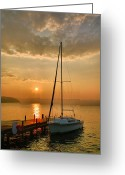Acrylic Print Greeting Cards - Sailboat and Sunrise Greeting Card by Steven Ainsworth