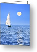 Sad Greeting Cards - Sailboat at full moon Greeting Card by Elena Elisseeva