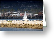 Ocean Front Greeting Cards - Sailboat in Harbor Greeting Card by David Buffington