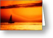 Huisken Greeting Cards - Sailboat in Orange Greeting Card by Lyle  Huisken