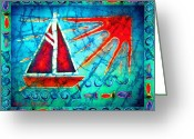 Transportation Tapestries - Textiles Greeting Cards - Sailboat in the Sun Greeting Card by Sue Duda