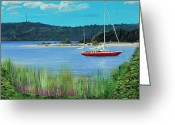 Petoskey Painting Greeting Cards - Sailboat in Weque Greeting Card by Klaus Knuth
