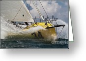 Sailboat Picture Greeting Cards - Sailboat Le Pingouin Open 60 Charging  Greeting Card by Dustin K Ryan