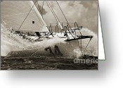 White Greeting Cards - Sailboat Le Pingouin Open 60 Sepia Greeting Card by Dustin K Ryan