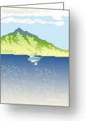 Mountain Landscape Greeting Cards - Sailboat Mountains Retro Greeting Card by Aloysius Patrimonio
