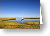 Stillness Greeting Cards - Sailboat on Cape Cod Bay Greeting Card by John Greim