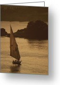Nile River Greeting Cards - Sailboat On The Nile River At Twilight Greeting Card by Kenneth Garrett