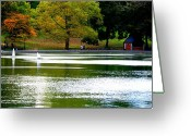 Central Park Photo Greeting Cards - Sailboat Pond at Central Park Greeting Card by Christopher Kirby